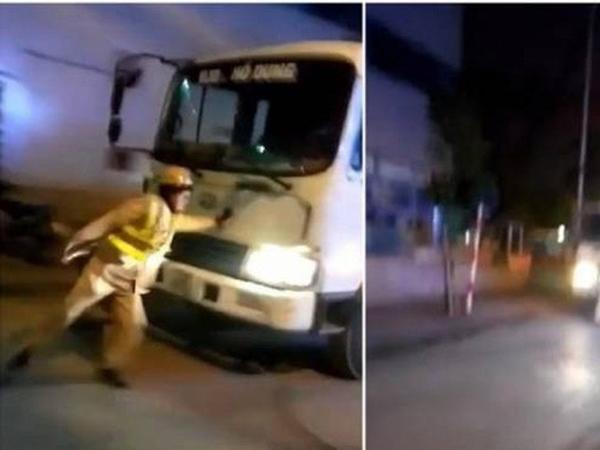 Tạm giữ hình sự tài xế xe tải lao thẳng vào CSGT Hà Nội