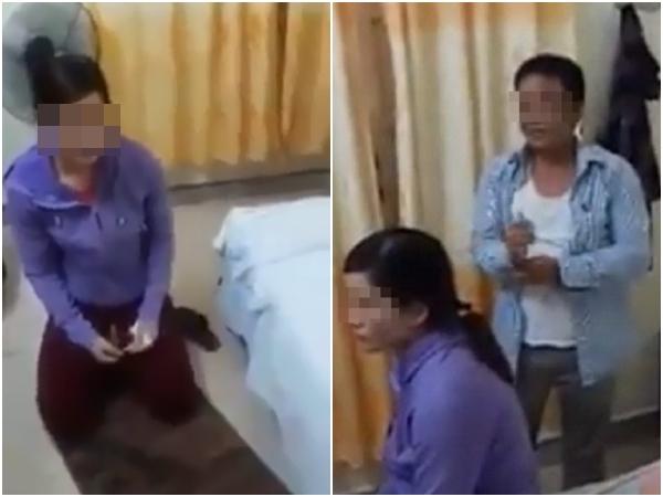 Clip: Vợ quỳ gối xin lỗi chồng vì bị bắt quả tang vào nhà nghỉ với trưởng công an xã