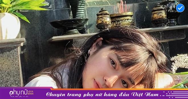 Khánh Vân 'Mắt biếc' gây tranh cãi khi tạo dáng bên bia mộ ông bà