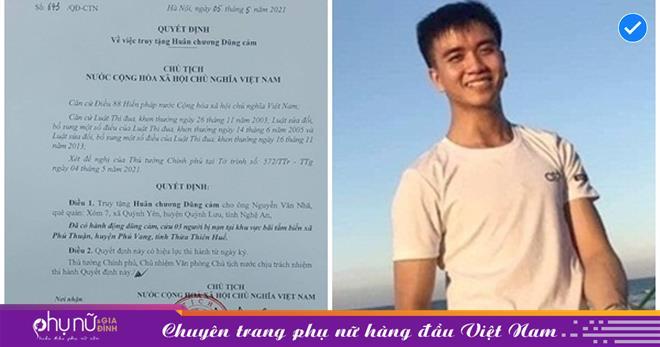 Nguyễn Văn Nhã được Chủ tịch nước truy tặng Huân chương dũng cảm