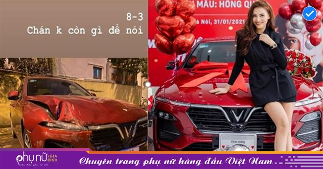 Ngày 8/3, Hồng Quế than thở xe sang nát banh nghi va chạm nghiêm trọng