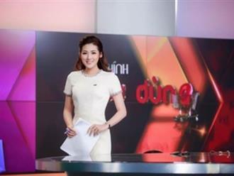 Á hậu Tú Anh đẹp rạng rỡ trong vai trò Biên tập viên Truyền hình Quốc gia