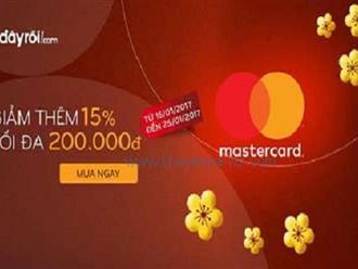 Từ ngày 16 - 25/01/2017 Adayroi khuyến mãi giảm ngay 15% khi thanh toán bằng thẻ MasterCard