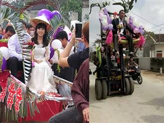 Đám cưới rước dâu bằng xe nâng và xe kéo 'cà tàng' ở Nghệ An