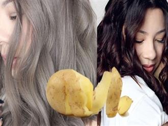 Tóc bạc mấy cũng trở nên đen nhánh chỉ vài phút với củ khoai tây