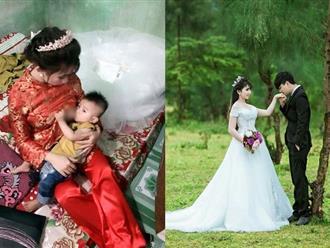 Chuyện hậu trường bất ngờ của cô dâu vừa mặc váy cưới vừa cho con bú gây sốt trên diễn đàn chị em