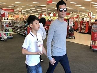Con trai Quang Dũng - Jennifer Phạm lớn như thổi khi đi chơi cùng bố