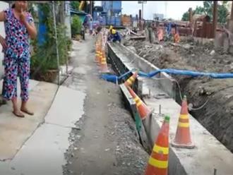 Nhà dân bị nứt hàng loạt do công trình thi công dự án chống ngập