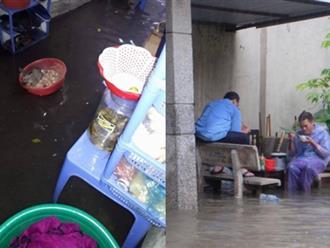 Bão số 2 khiến Hà Nội mưa kéo dài, người dân bì bõm lội nước trên nhiều tuyến phố