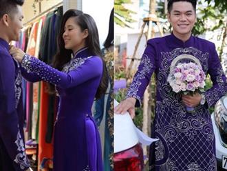 Đám cưới Lê Phương - Trung Kiên: Sự thật ít người biết về bộ lễ phục cưới màu tím