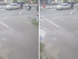 Tai nạn liên hoàn xảy ra khi 'cô gái quàng khăn đỏ' bất ngờ qua đường