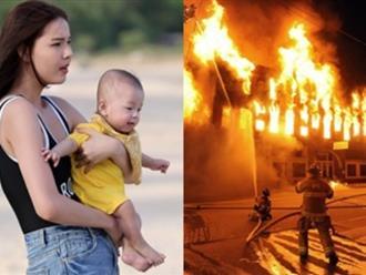 Kỳ Hân bế con chạy hụt hơi vì chung cư báo cháy lúc tờ mờ sáng