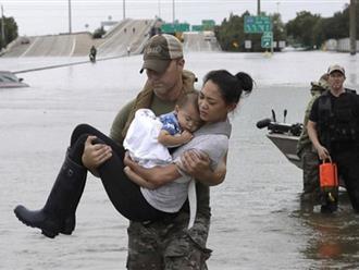 Hình ảnh cảnh sát bế hai mẹ con gốc Việt ra khỏi ngôi nhà ngập nước sau siêu bão Harvey gây sốt