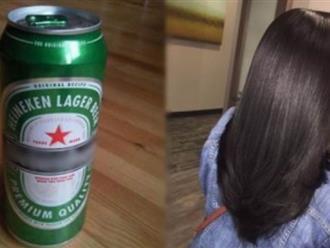 Ngâm tóc với bia trong 3 phút, cô gái 'rú lên sung sướng' vì kết quả