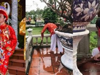 Xúc động với hình ảnh Hoài Linh chân trần dầm mưa thu dọn tàn cuộc sau ngày giỗ Tổ hoành tráng