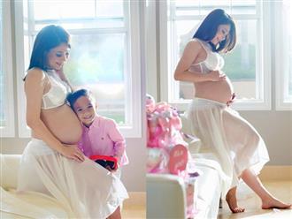 Ca sĩ Thanh Thảo khoe ảnh bụng bầu chụp cùng bé Jacky trước ngày sinh nở