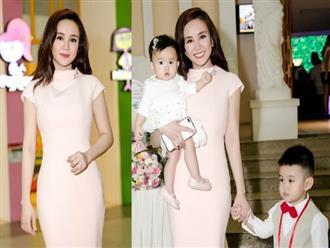 Lần đầu tiên hai nhóc tì đáng yêu nhà Vy Oanh lộ diện cùng mẹ trong sự kiện