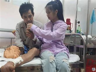 Bé gái 14 tuổi lặn lội trong đêm kịp về chăm sóc cha bị tai nạn phải cưa chân