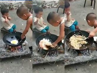 Góc anh trai nhà người ta: Còn nhỏ xíu đã chiên cơm cho em gái ăn siêu thuần thục