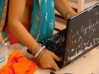 Cười không nhặt được mồm clip rửa laptop theo phong cách 'cô dâu 8 tuổi'
