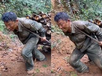 Clip người bố vất vả kéo gỗ trên sườn núi khiến nhiều người rơi nước mắt