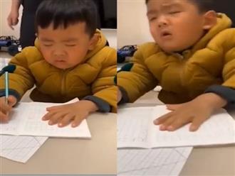 Cười ngất với biểu cảm gật gù của bé trai khi học bài sau thời gian nghỉ ở nhà