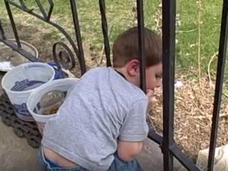 Bị kẹt đầu giữa song sắt lan can, cậu bé nghĩ ra cách thoát thân cực bất ngờ