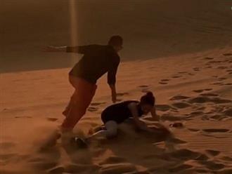 Ông bầu Vũ Khắc Tiệp chắp tay xin lỗi vì để Ngọc Trinh ngã sấp mặt trên sa mạc