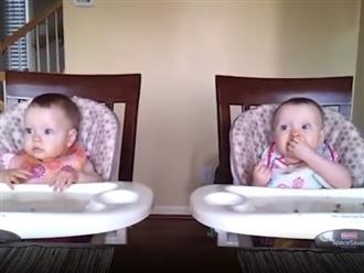 Phản ứng siêu đáng yêu của cặp sinh đôi khi nghe tiếng đàn của bố