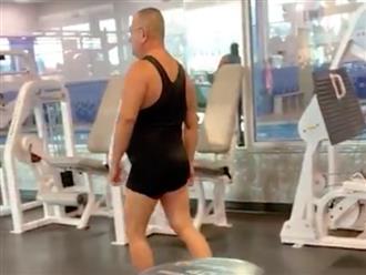 Cười 'không nhặt được mồm' với cảnh ông chú bụng phệ tập thể dục trong phòng gym