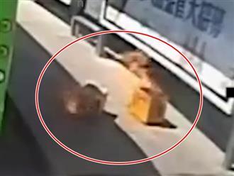 Đến trạm xe, người phụ nữ hoảng hồn bỏ chạy vì chiếc thùng bỗng bốc cháy, cảnh tượng phía sau còn 'vi diệu' hơn
