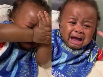 Bố xuống tóc, cậu bé khóc như mưa như gió vì đau khổ khiến dân tình cười chảy nước mắt