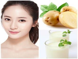 Đắp mặt nạ khoai tây sữa tươi giúp bạn có làn da trắng mịn như em bé