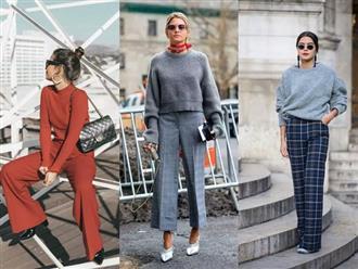 """Áo len và quần ống rộng chính là """"chân ái"""" của các nàng công sở trong thời tiết này"""