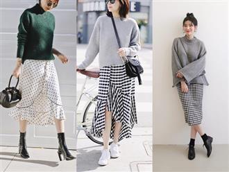 Đơn giản là áo len + chân váy thôi nhưng có đến 4 cách mix&match xinh mê hồn để bạn thỏa sức diện đông này