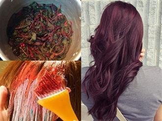 Đun rau dền lấy nước gội đầu, tóc không những suôn mượt mà còn ngả màu nâu đỏ tuyệt đẹp y chang salon