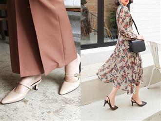 Giày khuyết gót - item dù mang đế bệt cũng kéo dài chân cực khéo, lại nữ tính và trang nhã vô cùng