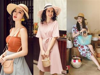Học sao Việt cách chọn và kết hợp mũ cói sao cho thật duyên dáng khi diện cùng trang phục hè