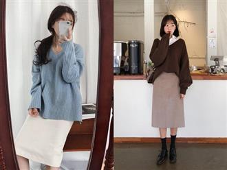 """Muốn hoàn thiện vẻ ngoài nhanh nhất, nàng công sở sẽ cần set áo len + chân váy suông đang """"hot rần rần"""" này"""