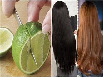 Nhuộm tóc bằng thuốc làm gì cho ung thư, em chỉ các mẹ cách biến tóc mỏng thành tóc dày, tóc đen thành nâu chỉ bằng vài quả chanh tươi, Tết tha hồ xinh