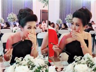 Sợ bị soi 'ăn như bị bỏ đói' giống Hari Won, Á hậu Trịnh Kim Chi ngồi ăn tiệc mà khổ hơn ra mắt nhà chồng