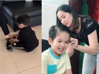 Con trai Khánh Thi khụy gối mang giày giúp mẹ như 'soái ca' khiến dân mạng điêu đứng