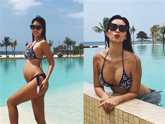 Bụng bầu 5 tháng rưỡi, Hà Anh vẫn tự tin diện bikini khoe thân hình sexy khó cưỡng