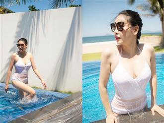 Tuổi 42, Hoa hậu Hà Kiều Anh vẫn liều lĩnh mặc bikini mỏng như sương khoe vóc dáng 'nóng bỏng'
