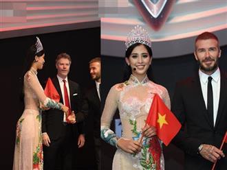 Hoa hậu Tiểu Vy bị chỉ trích vì diện áo dài xuyên thấu thấp thoáng nội y đi sự kiện có David Beckham