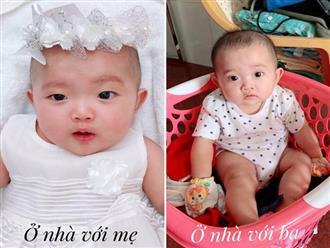 Con gái Khánh Thi ở nhà với mẹ thì xinh đẹp, ở nhà với ba lại lem luốc thấy thương thế này