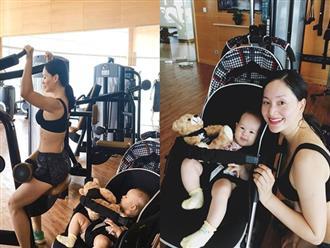 Lan Phương đi tập gym sau 4 tháng sinh mổ, con gái ngủ quên vì chờ mẹ