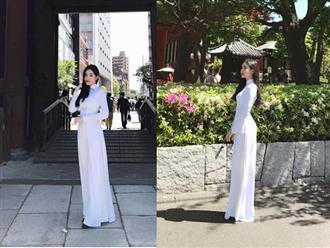 Diện áo dài dân tộc, Lê Âu Ngân Anh nổi bần bật trên đường phố Tokyo