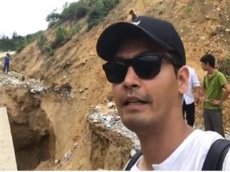 Mang tiền lên Hà Giang, MC Phan Anh đứng giữa vách núi đá đang sạt lở khiến nhiều người khiếp vía