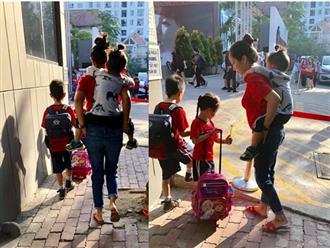 Tâm sự xúc động của Ốc Thanh Vân sau một ngày tay xách nách mang đưa 'bầy con' đến lớp